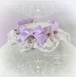 Kitten Pet Play Collar Ddlg Choker Necklace Lilac Purple White Bow Spikes