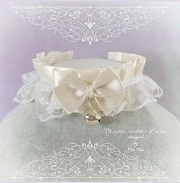 Kitten Pet Play Collar Ddlg Choker Necklace Beige Ivory White Lace Bow Bell