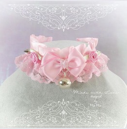 Kitten Pet Play Collar Ddlg Choker Necklace Baby Pink Rose Bell Spikes Bow