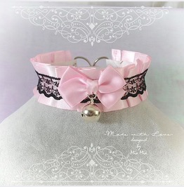 Kitten Pet Play Collar Bdsm Ddlg Choker Necklace Pink Black Lace Bow Ring