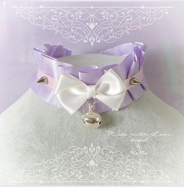 Kitten Pet Play Collar Bdsm Ddlg Choker Necklace Lilac Purple Pink Bow Ring