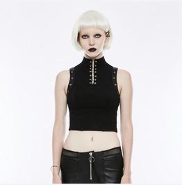 Punk Rave Women's Punk Choker Back Zipper Sleeveless Tank Tops Wt507 Bxf/Bk