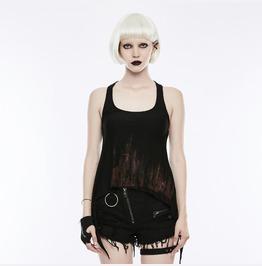 Punk Rave Women's Punk Fashion Printed Backless Tanks Top T Shirt Wt504 Bxf
