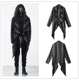 Punk Rock Mens Fashion Black Trench Coat Spring Autumn Streetwear