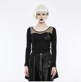 Punk Rave Women's Punk Floral Printed Mesh Panel Long Sleeve T Shirt Wt494 T