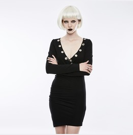 Punk Rave Women's Sexy Ruffle Slim Fitted Dress Oq354 Lqf/Bk