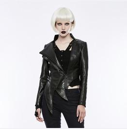 Punk Rave Women's Irregular Shaped Hem Faux Leather Jacket Opy253 Pdf/Bk