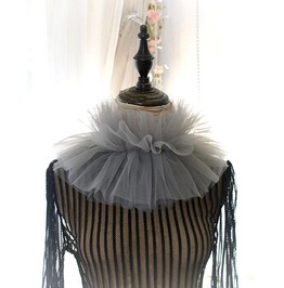 Elizabeth Gray Silk Tulle Ruff Neck High Collar Necklace Victorian Goth