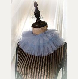 Elizabeth White Blue Silk Tulle Ruff Neck High Collar Detachable Victorian