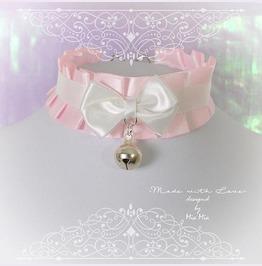 Kitten Play Collar Bdsm Hoker Necklace Baby Pink Satin Ruffles Bow Bell