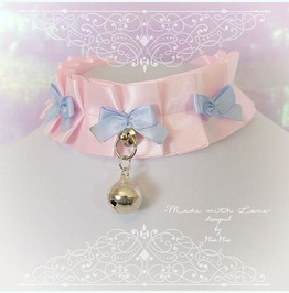 Kitten Play Collar Bdsm Choker Necklace Baby Pink Blue Bow Bell O Ring
