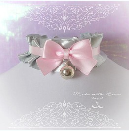 Kitten Play Collar Choker Necklace Gray Baby Pink Bow Bell Pastel Goth