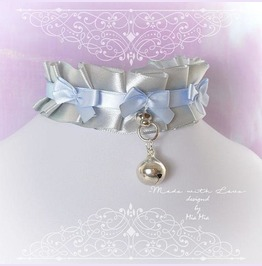 Kitten Play Collar Bdsm Choker Necklace Gray Baby Blue Ruffles Pastel Goth