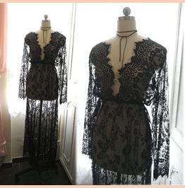 Bohemian Goth Gothic Black Lace Sheer Beach Coverup Wedding Dress Maxi Dres