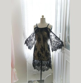 Bohemian Black Eyelash French Lace Dress Rope Cape,Lace Kimono Top