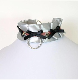 Kitten Play Collar Bdsm Choker Necklace Silver Gray Ruffles Spikes Bow Ring
