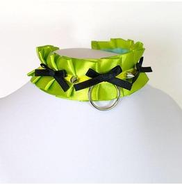 Kitten Play Collar , Bdsm Choker Necklace Olive Green Yellow Pastel Goth