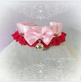 Kitten Pet Play Collar Bdsm Choker Necklace Baby Pink Red Lace Spike Lolita