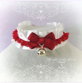 Kitten Pet Play Collar Choker Necklace White Red Lace Ruffles Pastel Goth