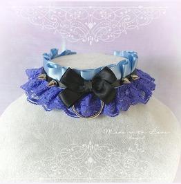 Kitten Pet Play Collar Choker Necklace Blue Ruffles Black Bow Spikes