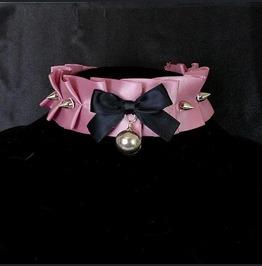 Kitten Play Collar , Choker Necklace Puce Pink Satin Ruffles Spikes
