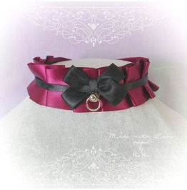 Kitten Pet Play Collar Ddlg Choker Necklace Burgandy Red Black Satin Bow