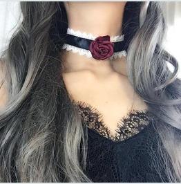 Collar Choker Black Satin White Lace Red Rose Vampire , Bdsm Ddlg Pastel Go