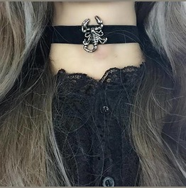 Necklace Choker Scorpion Black Velvet Witch Choker, Goth Gothic Wicca Punk