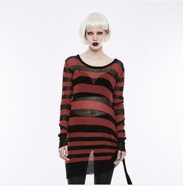 Punk Rave Women's Contrast Stripe Loose Broken Hole Sweater Opm074 Tmf