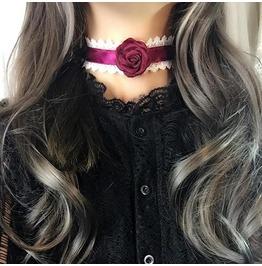 Collar Choker Red White Lace Rose Vampire Burgandy Satin , Bdsm Ddlg