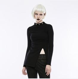 Punk Rave Women's Diablo Split Stand Collar Sweater Opm068 Tmf/Bk