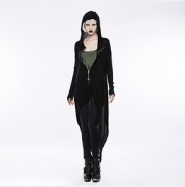 Punk Rave Women's High/Low Darkness Knitted Hooded Cardigan Opm067 Kmf