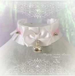 Kitten Pet Play Collar Bdsm Choker Necklace White Pink Satin Pastel Goth