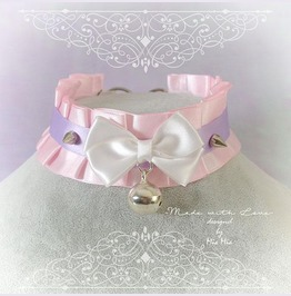 Kitten Pet Play Collar Bdsm Choker Necklace Baby Pink Lilac Pastel Goth