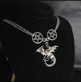Necklace Choker Dragon Slayer Pentacle Witch Choker Goth Gothic Wicca Jewel