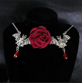 Necklace Choker Bat Vampire Blood Drop Crystal Red Rose Witch Choker, Goth