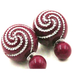 Awesome Ball Deep Maroon Red Stud Earrings