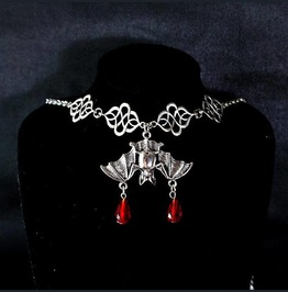 Necklace Choker Bat Vampire Blood Drop Crystal Witch Choker, Goth Gothic