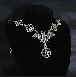 Necklace Choker Bat Pentacle Witch Choker, Goth Gothic Wicca Jewelry