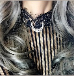 Necklace Choker Crescent Moon Ring Witch Choker, Goth Gothic Wicca Jewelry