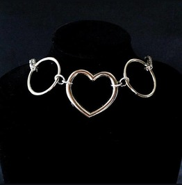 Necklace Choker Heart And Ring Witch Choker, Goth Gothic Wicca Jewelry