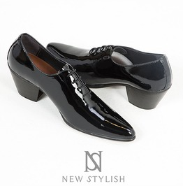 Black Glossy Enamel Leather High Heel Shoes 404
