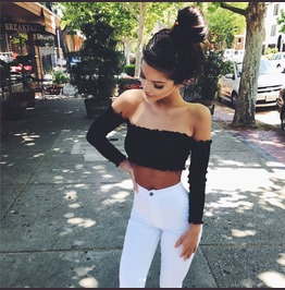 Sexy Black Off Shoulder Crop Top Long Sleeves T2335