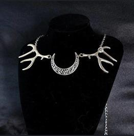 Necklace Choker Deer Horn Skull Crescent Moon Witch Choker Goth Gothic