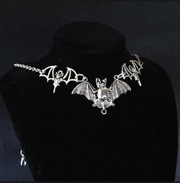 Necklace Choker Three Bat Witch Choker, Goth Gothic Wicca Jewelry Steampunk