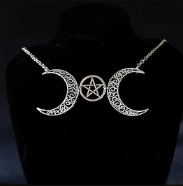 Necklace Choker Crescent Moon And Pentacle Witch Choker, Goth Gothic Wicca