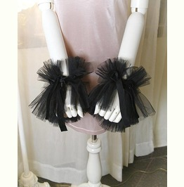 2 Pcs Elizabeth Black Tulle Lace Cuff Gloves Arm Cover Sleeves Velvet Tail