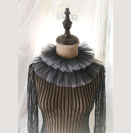 Elizabeth Black White Tulle Lace Ruff Neck High Collar Detachable Victorian