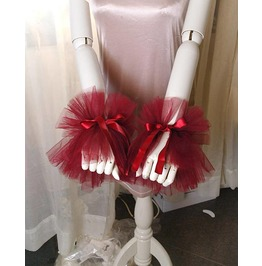 2 Pcs Elizabeth Burgandy Red Tulle Lace Cuff Gloves Arm Cover Sleeves