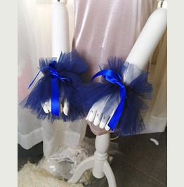 2 Pcs Elizabeth Navy Blue Tulle Lace Cuff Gloves Arm Cover Sleeves Victoria